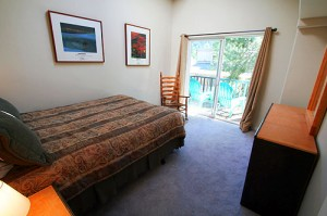 Upstairs bedroom with deck and views of ski area